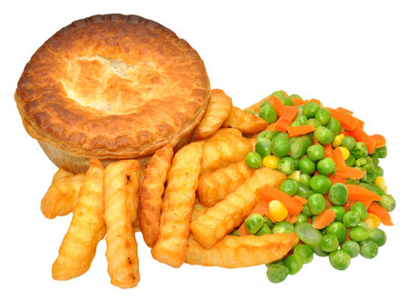 meat pie: Meat pie and chips meal with mixed vegetables, isolated on a white, background.