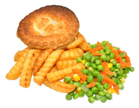 meat pie: Meat pie and chips meal with mixed vegetables, isolated on a white Stock Photo