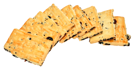 garibaldi: Pile of Traditional, English Garibaldi biscuits, isolated on a white background.