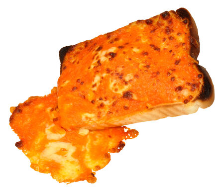 quick snack: Grilled cheese melting on a slice of bread isolated on a white background.