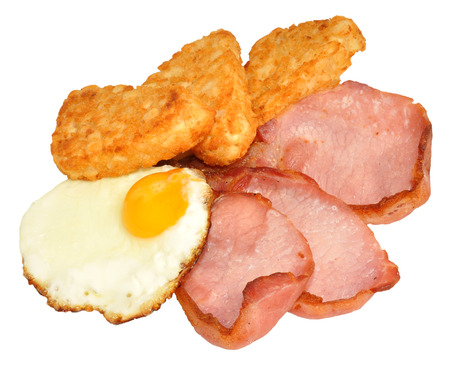 Fried egg and bacon with hash browns isolated on a white background