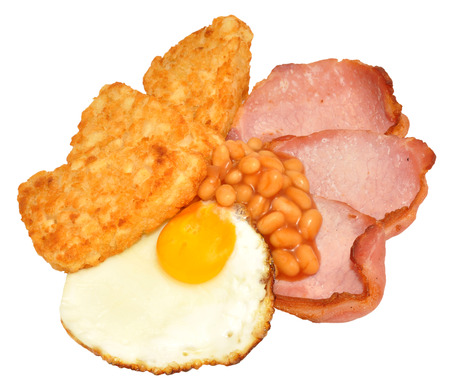 bacon baked beans: Fried egg and bacon with hash browns and baked beans isolated on a white background. Stock Photo