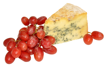 stilton: Bunch of red grapes and wedge of blue stilton cheese isolated on a white background