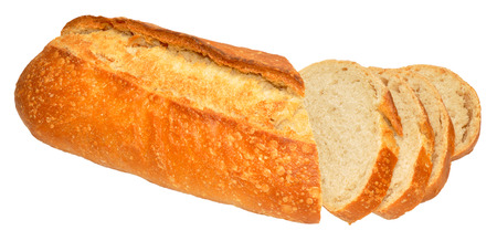 bloomer: Fresh crusty sourdough bloomer bread loaf isolated on a white background