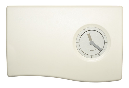 programmable: Domestic central heating timer control with day and night thermostat isolated on a white background