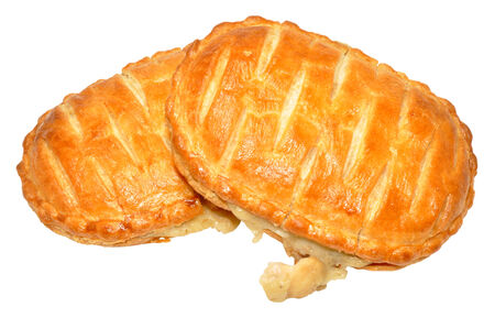 savoury: Puff pastry chicken and mushroom savoury slices isolated on a white background