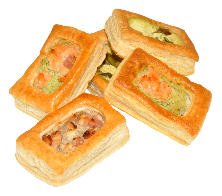 vents: Puff pastry party vol au vents isolated on a white background.