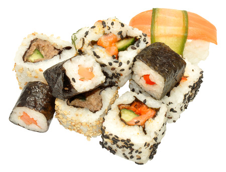 Selection of small sushi samples isolated on a white background photo