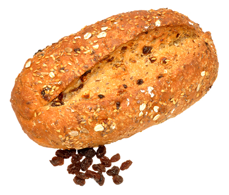 bloomer: Whole freshly baked raisin and muesli bread loaf isolated on a white background