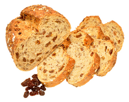 bloomer: Partially sliced freshly baked raisin and muesli bread loaf isolated on a white background Stock Photo