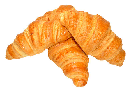 buttery: Fresh buttery pastry croissants isolated on a white background Stock Photo