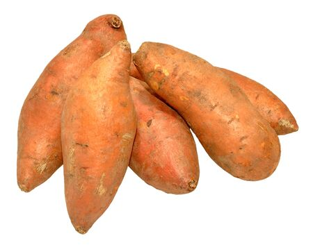 Group of raw sweet potatoes isolated on a white background