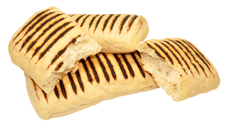 panino: Group of Panini bread rolls with scorched lines isolated on a white background