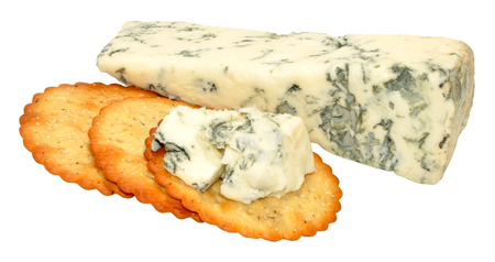 veined: Soft blue veined Dolcelatte cheese with cheese biscuits isolated on a white background