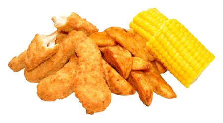 strips away: Breaded chicken strips and potato wedges with sweet corn cobs isolated on a white background