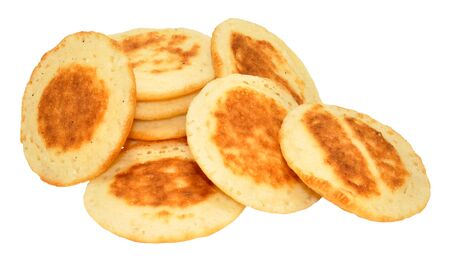 blini: Group of small blini pancakes isolated on a white background Stock Photo