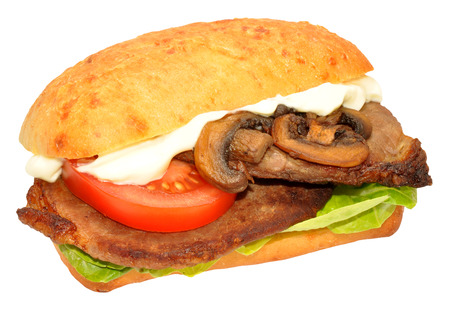 steak sandwich: Steak sandwich with tomatoes and mushrooms isolated on a white background