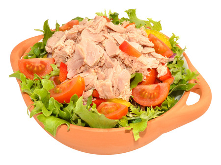 flaked: Fresh flaked tuna salad bowl isolated on a white background