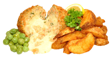 Salmon and cheese filled fish cakes and potato wedges with peas isolated on a white background photo