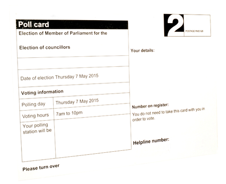 govern: Election notification card for councillors and members of parliament isolated on a white background Stock Photo