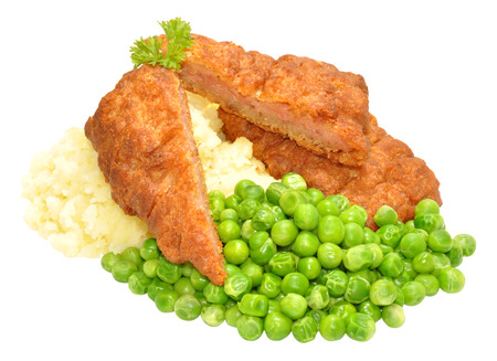 creamed: Crispy battered pork luncheon meat fritters with mashed potato and peas isolated on a white background
