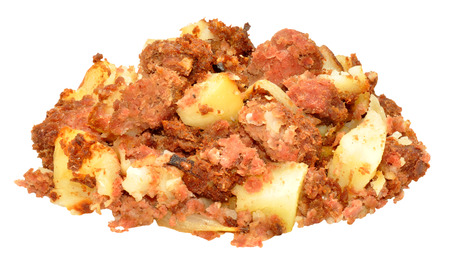 hash: Homemade corned beef hash meal isolated on a white background