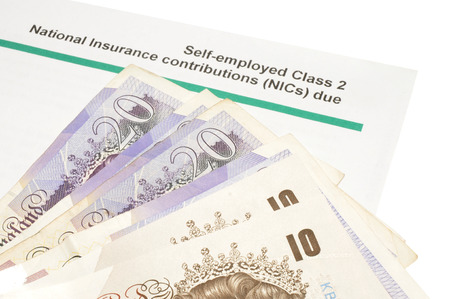 demand: National insurance notification payment demand letter and English banknotes