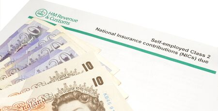 National insurance notification payment demand letter and English banknotes