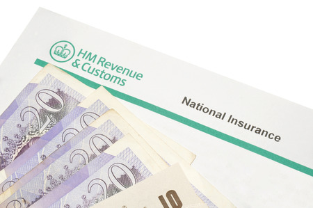 govern: National insurance notification payment demand letter and English banknotes