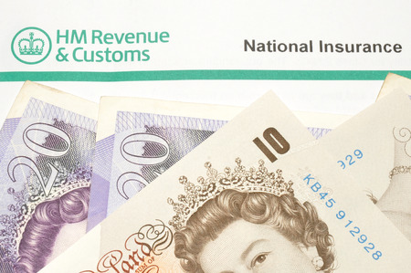 notification: National insurance notification payment demand letter and English banknotes