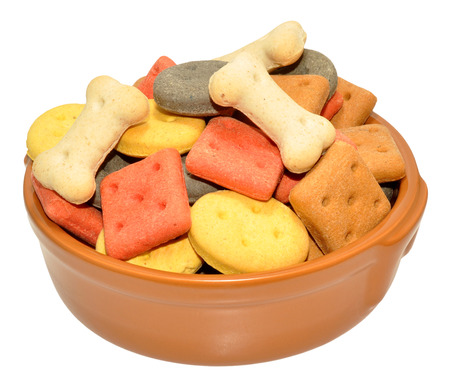 dog biscuit: Dog biscuit shapes in a ceramic bowl isolated on a white background