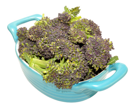 head of cauliflower: Fresh raw purple headed broccoli in a blue dish isolated on a white background