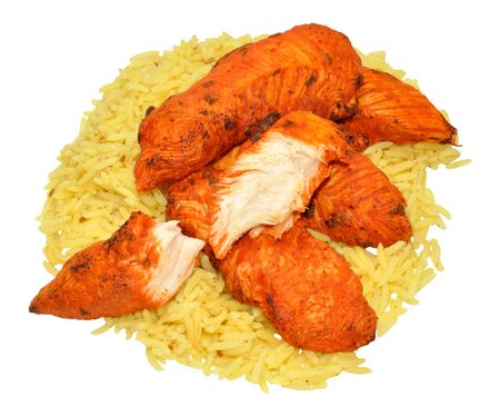 tandoori chicken: Cooked spicy tandoori chicken fillets with rice isolated on a white background