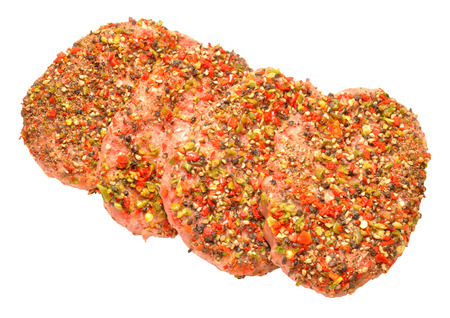 peppered: Raw uncooked peppered beef grill steaks isolated on a white background