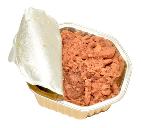 meat food: Opened foil pack of dog meat food isolated on a white background