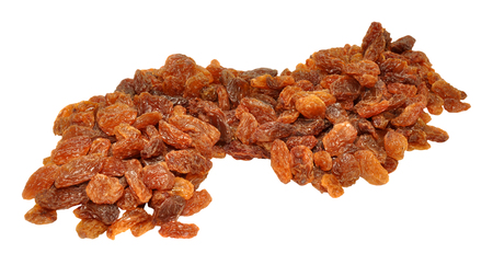 sultanas: Group of golden dried sultanas isolated on a white background