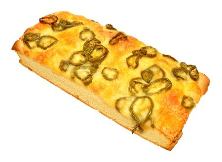 Cheese and fiery jalapeno pepper focaccia bread isolated on a white background Archivio Fotografico