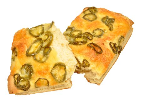 jalapeno pepper: Cheese and fiery jalapeno pepper focaccia bread isolated on a white background Stock Photo