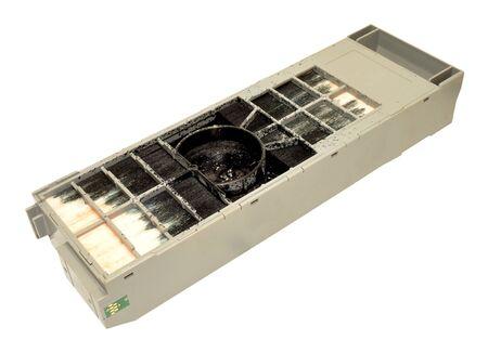 inkjet printer: Old full inkjet printer maintenance cartridge isolated on a white background