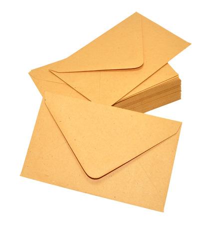 Group of brown manila postal envelopes isolated on a white background Stock Photo