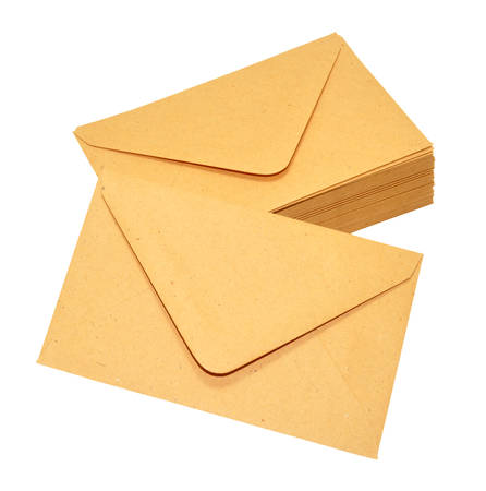 sealable: Group of brown manila postal envelopes isolated on a white background Stock Photo