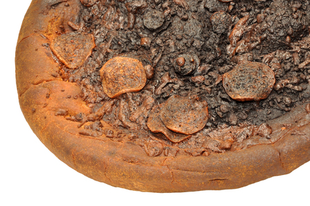 inedible: An inedible burnt pepperoni pizza isolated on a white background