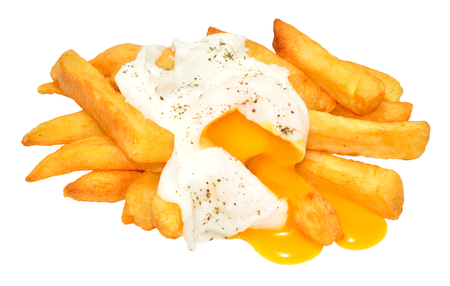 runny: Poached egg with runny yolk and chips isolated on a white background Stock Photo