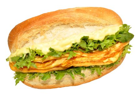 filled roll: Omelette filled bread sandwich roll with lettuce isolated on a white background