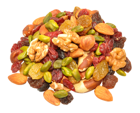 sweet and savoury: Mixed fruit and nut background with hazel and brazil nuts