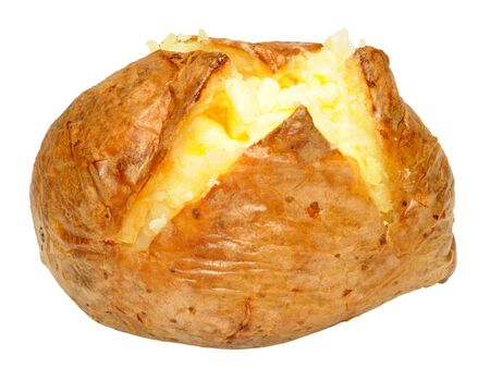 Freshly baked potato with melting butter isolated on a white background Stock fotó