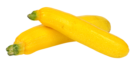Two ripe yellow courgettes isolated on a white background Archivio Fotografico