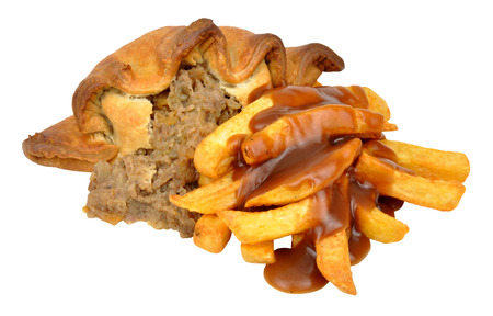 pasty: Traditional meat and potato filled pasty and chips meal isolated on a white background Stock Photo