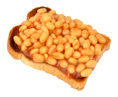 Baked beans in tomato sauce on toasted bread slice isolated on a white background