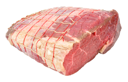 prime: Raw prime silverside beef joint isolated on a white background